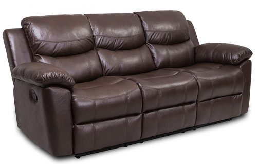 JUNTOSO Manual Recliner 3-Seat Reclining Couch Sofa Air Leather Living Room Lounge - Chocolate