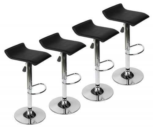 PULUOMIS 360 Degree Swivel Adjustable Bar Stool, Mordern Faux Leather Pub Chair, Set of 4