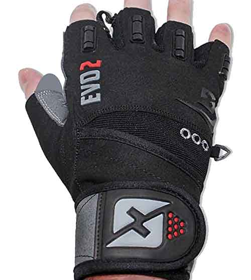 skott 2019 Evo 2 Weightlifting Gloves with Integrated Wrist Wrap Support-Double
