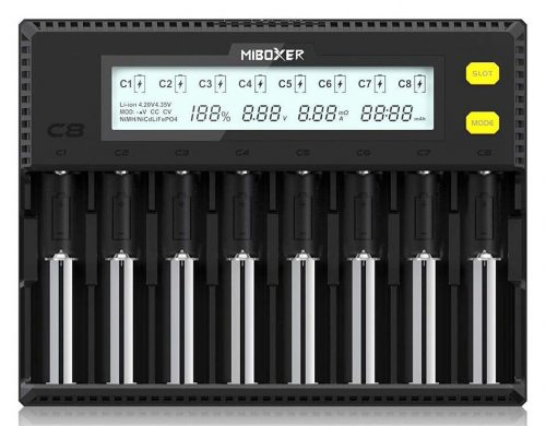 Miboxer 18650 Battery Charger 8 Bay Intelligent Automatic LCD Display