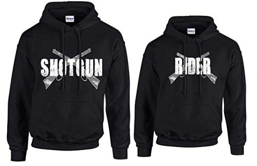 His and Hers Couples Hoodie Shot Gun Rider