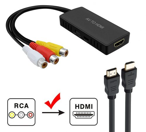 RCA to HDMI Converter, RuiPuo Composite to HDMI Adapter Support 1080P