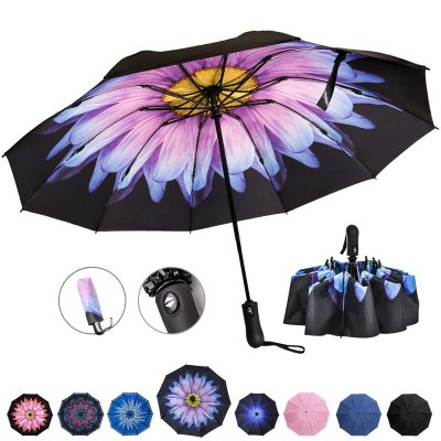 Reverse Folding Compact Travel Umbrellas