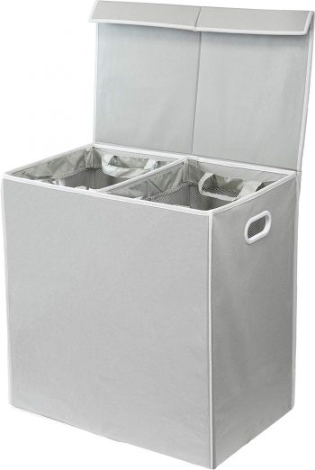 Simplehouseware Double Laundry Hamper with Lid and Removable Laundry Bags