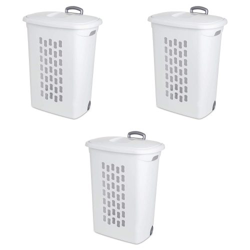 Sterilite 12228003 Ultra Wheeled Hamper, White Lid & Base