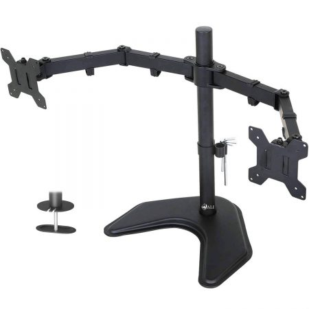 "WALI Free Standing Dual LCD Monitor Fully Adjustable Desk Mount Fits Two Screens up to 27"", 22 lbs"