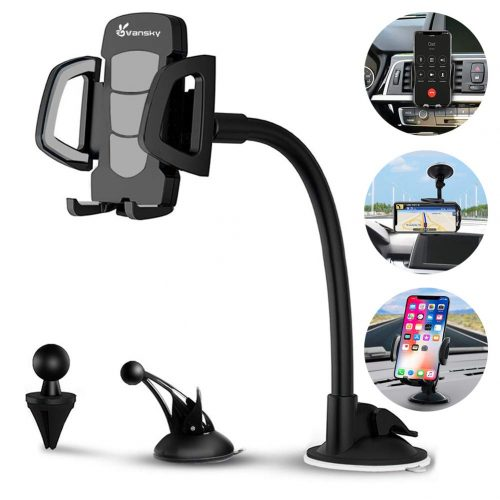 Car Phone Mount, Vansky 3-in-1 Universal Cell Phone Holder Car Air Vent Holder Dashboard Mount Windshield Mount