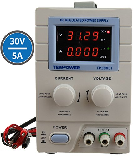 2.Tekpower TP3005T Variable Linear DC Power Supply, 0-30V @ 0-5A with Alligator Test Leads