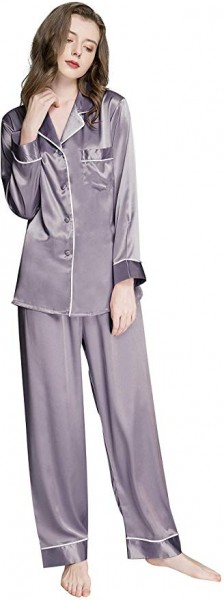 01. Womens Silk Satin Pajamas Set Button Down Sleepwear Loungewear