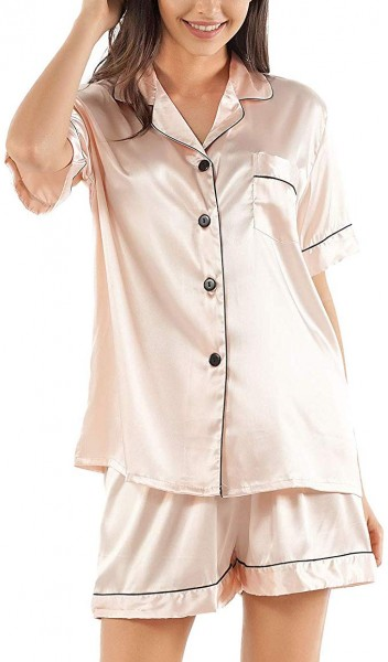 6. GAESHOW Women's Satin Silk Pajamas Set Short Sleeve Button-Down Pj Set Sleepwear Loungewear Two Piece Pj Sets